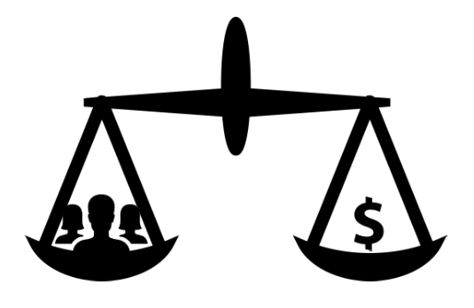 People Icon in Scale with Dollar Sign