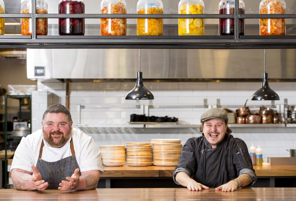 Chefs Michael Robertshaw of Pressroom and Matthew Cooper of RopeSwing's under construction restaurant that hasn't been officially announced.