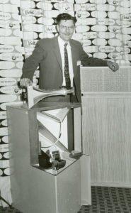 Paul W. Klipsch with the original corner, horn-loaded speakers, called the Klipschorn.