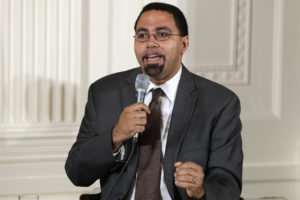 Education Secretary John B. King, Jr., speaks on a panel with first lady Michelle Obama to college-bound students participating in the Reach Higher initiative's third annual Beating the Odds event in the East Room of the White House in Washington, Tuesday, July 19, 2016. (AP Photo/Jacquelyn Martin)