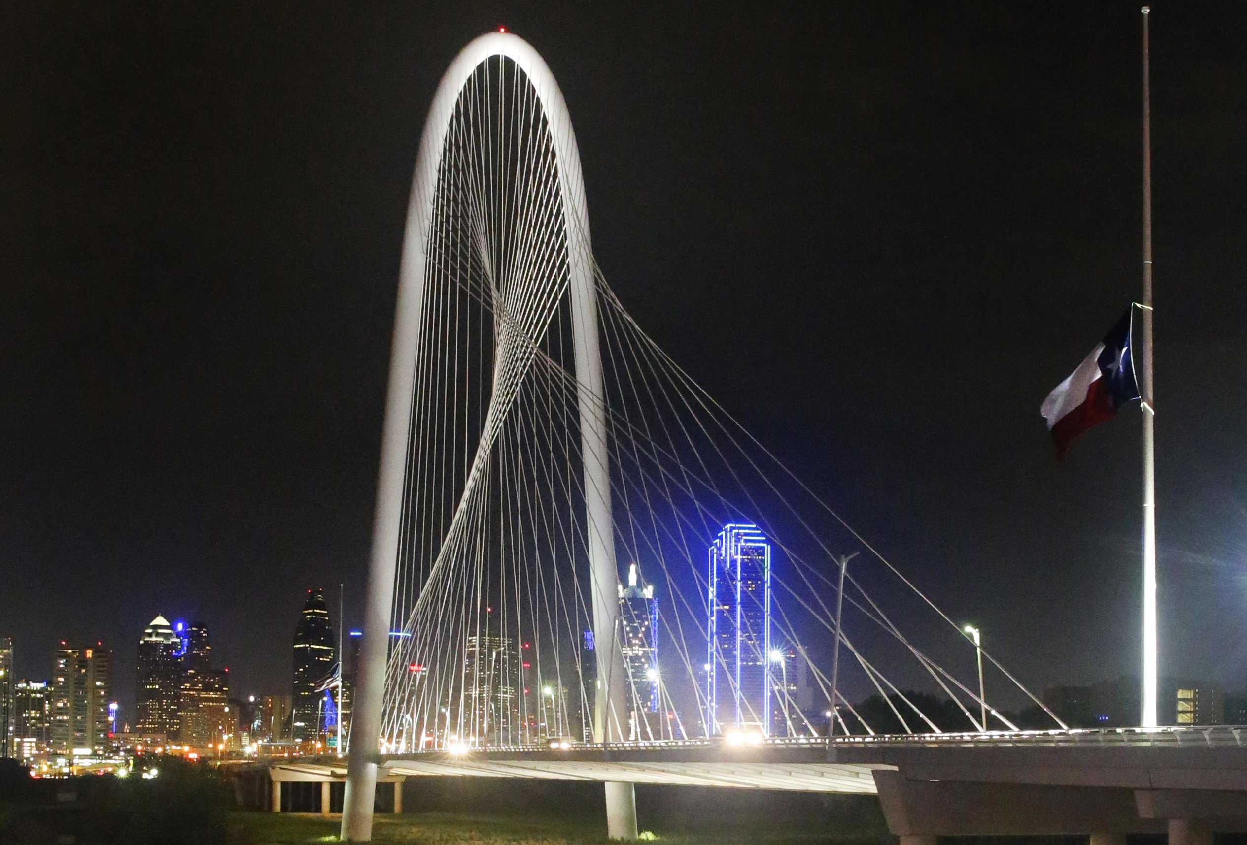 The Margaret Hunt Hill Bridge in Dallas is one of the iconic cable-stay bridges that Rich Howe suggests as inspiration for Little Rock's I-30 project. (AP file photo by Tony Gutierrez taken July 9, 2016)