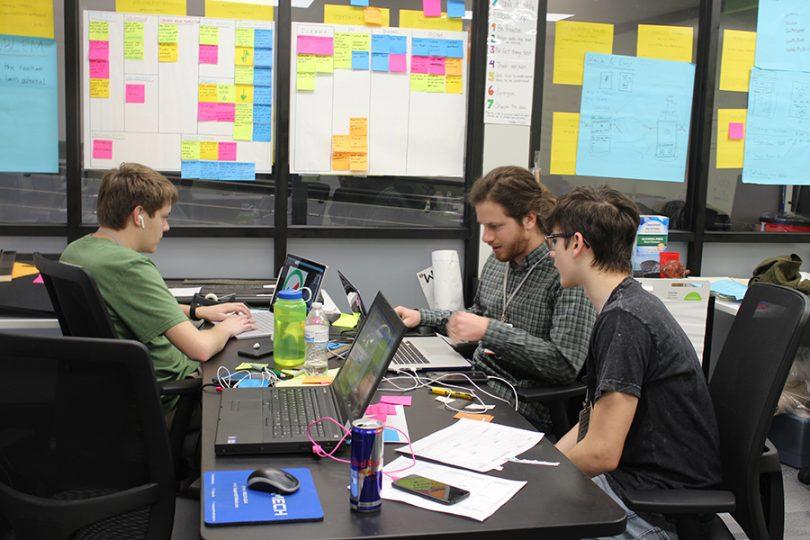 Young tech innovators work inside the Brewer Family Entrepreneurship Hub