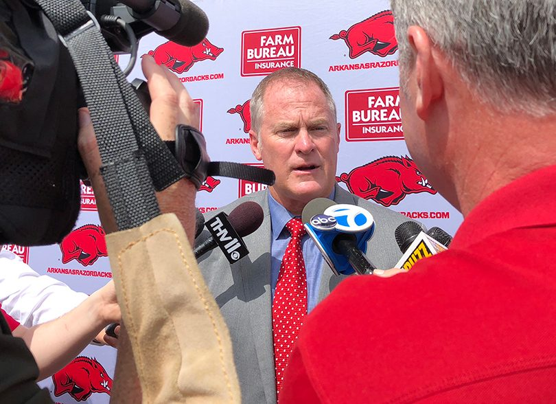 University of Arkansas Athletic Director Hunter Yurachek at a May 2018 press conference at War Memorial Stadium.