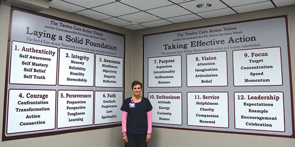 Lori Forbus, RN, a Certified Values Coach Trainer in the Culture of Ownership classroom at Midland Memorial Hospital in Midland, Texas, where all current and new associates complete a two-day course on personal values.