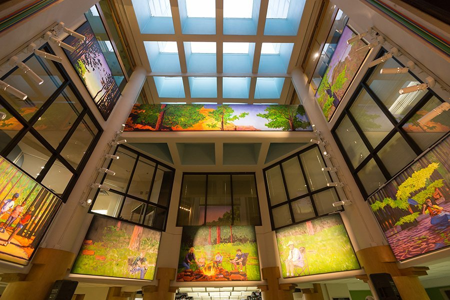 Arkansas Children's Hospital Main Lobby, Atrium Mural by Matt McLeod. Photo by Jacob Slaton.